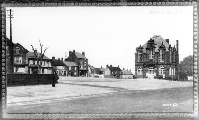Ripley Market Place showing the Elm tree
