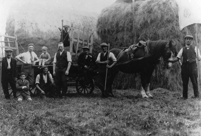Haymakers at Mr Brown's Farm, Langley 1950