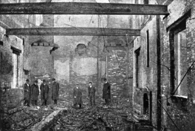 Interior of  Riddings National Schools after fire, Riddings, 1905