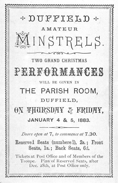 Duffield Minstral Show, 1883