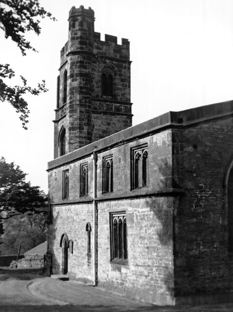 St John the Baptist church, side view and tower, Dethick, near Matlock, c 1950s?