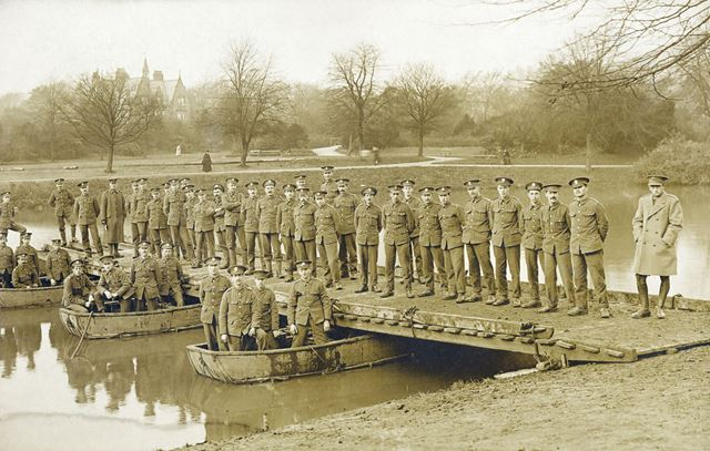 Soldiers and temporary bridge in the Pavilion Gardens, Buxton, 1915 ?