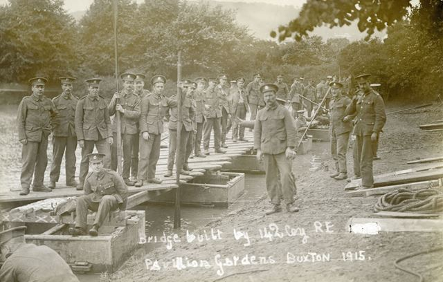 Soldiers and temporary bridge in the Pavilion Gardens, Buxton, 1915