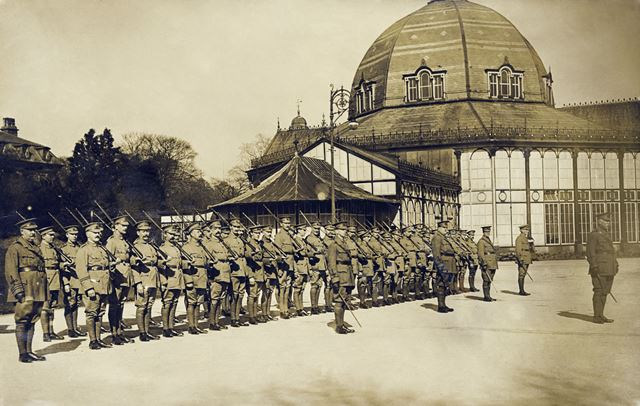 Soldiers on parade in front of The Pavilion, Buxton, c 1914-18 ?