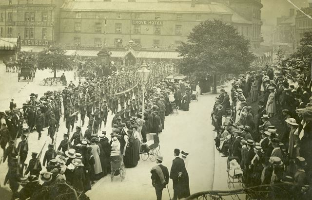 Soldiers marching into The Crescent, Buxton, c 1914-18 ?