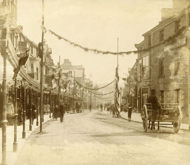 Spring Gardens, decorated with flags and bunting