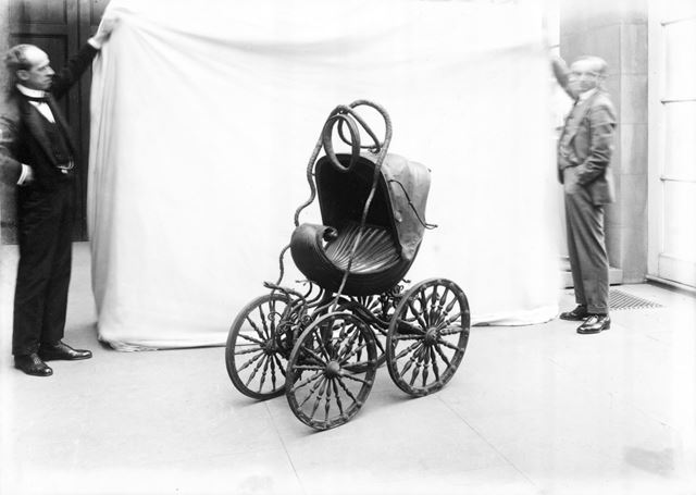 Child's carriage in form of sea shell at Chatsworth 1923