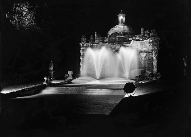 Chatsworth Cascade House floodlit on occasion of Lord Hartington becoming 10th Duke of Devonshire, 1