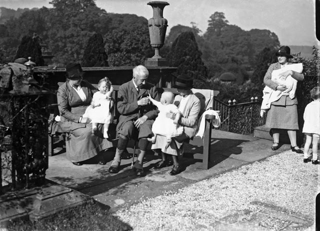 9th Duke of Devonshire with some of his youngest grandchildren and their nursemaids at Chatsworth, 1