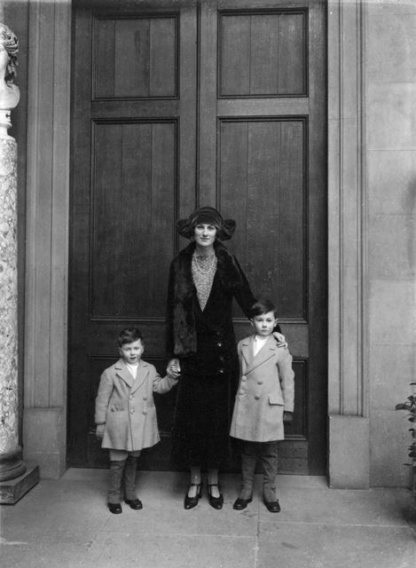 Lady Hartington and William (Billy, on the right) and Andrew, at Chatsworth House, c 1926