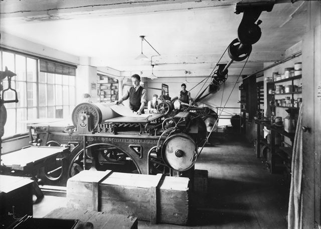 Printworks and Pressroom of J. Smith and Sons Printers, Bakewell, 1905