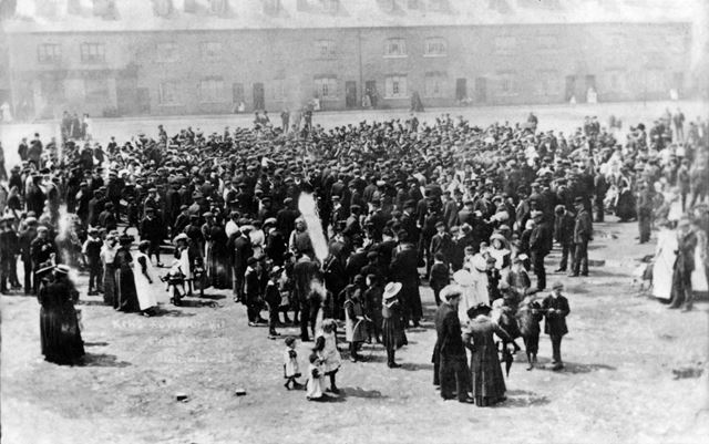 Unidentified event showing a mixed group in Shirebrook Market Place