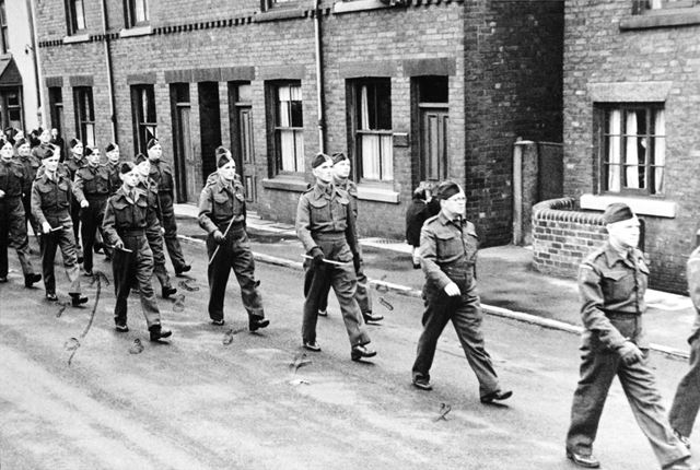 Home Guard marching along Chesterfield Road, Staveley