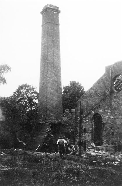 Derelict engine house and Chimney of Norbriggs Brush and Shovel Factory