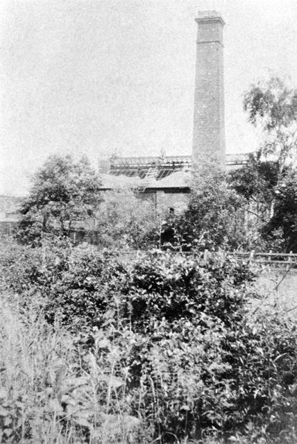 Distant view of the Chimney and Engine House at Norbriggs Brush and Shovel Factory