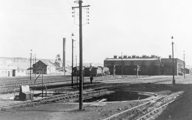 Engine sheds at Staveley Central with Ireland Colliery in the background