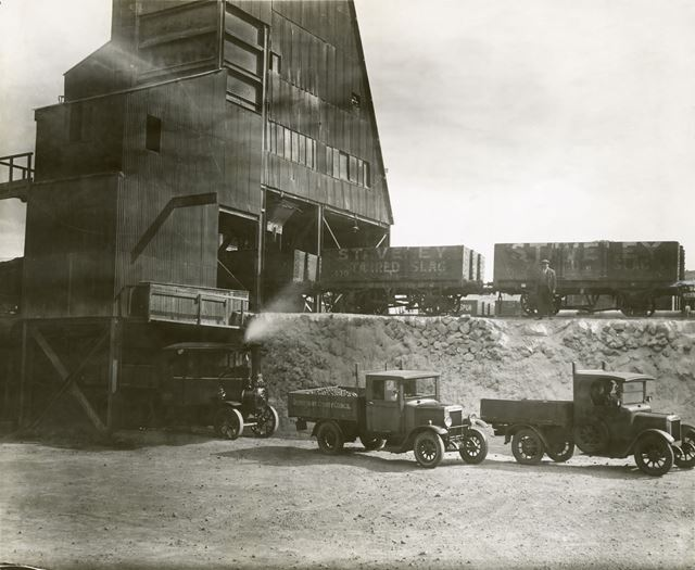 Lorries and Wagons waiting to be loaded at Devonshire Works