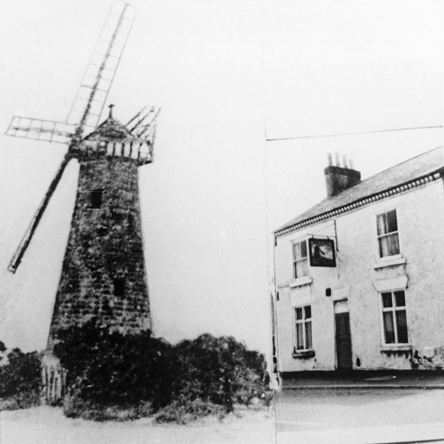 Peasehill Windmill and The Windmill PH, off Waingroves Road and Steam Mill Lane, Ripley, c 1890 and