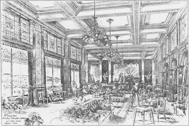 Smedley's Hydro - Interior sketch of The Drawing Room