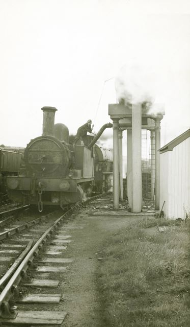 Taking water at the top of the Middleton Incline, on Cromford and High Peak Railway, 1957