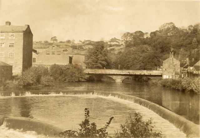 Weir and Mills on the River Derwent at Milford