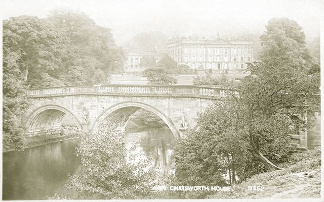 Chatsworth House and bridge over the River Derwent