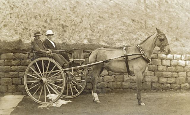 Percy and Eugenie Waterhouse with Horse and Trap, Whaley Bridge, c 1920s