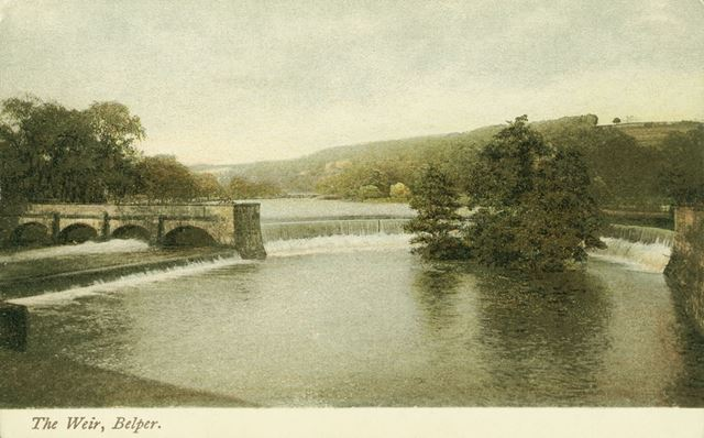 Horseshoe Weir and sluice Gates with River Gardens behind, Belper
