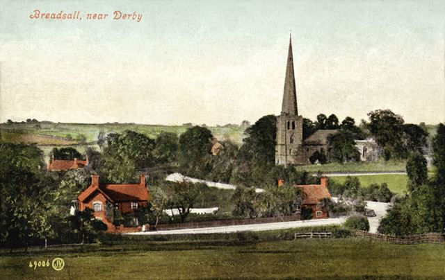 General view of Breadsall, with All Saints Church on the right