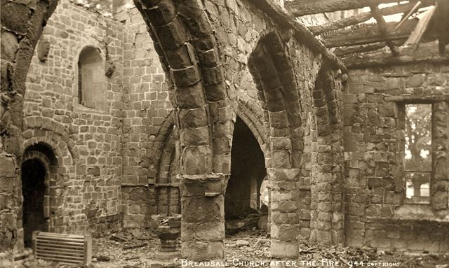 All Saints' Church, Breadsall - interior after the fire of 1914