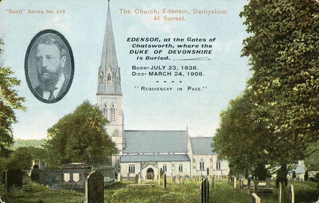 Commemorative card for the death of the 6th Duke of Devonshire. St Peter's Church, Edensor