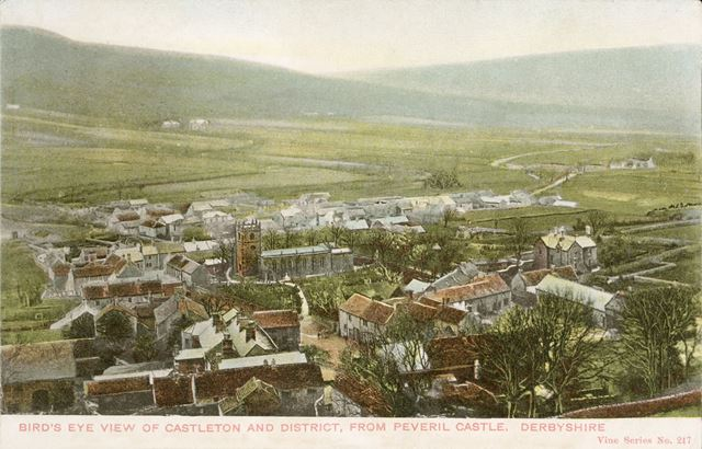 Bird's eye view of Castleton and district from Peveril Castle