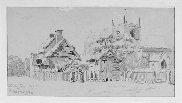 The Old St Michael's Church and cottages in Alvaston
