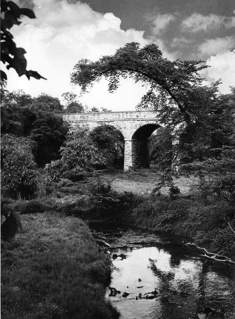 River Meden and railway viaduct, Mansfield Woodhouse, c 1950s ?