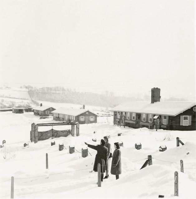 Staff Surveying the Snow Drifts, Amber Valley Camp School, Woolley Moor, 1947