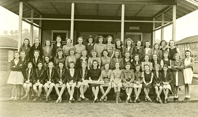 Girls at camp, Amber Valley Camp School, Woolley Moor, April-May 1946