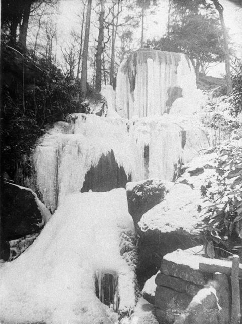 Cascade of the Robber's Stone - frozen, Chatsworth, 1942