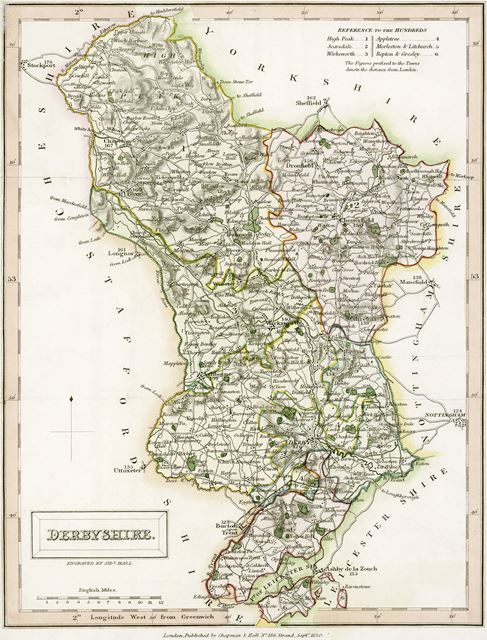 Map of Derbyshire, 1830