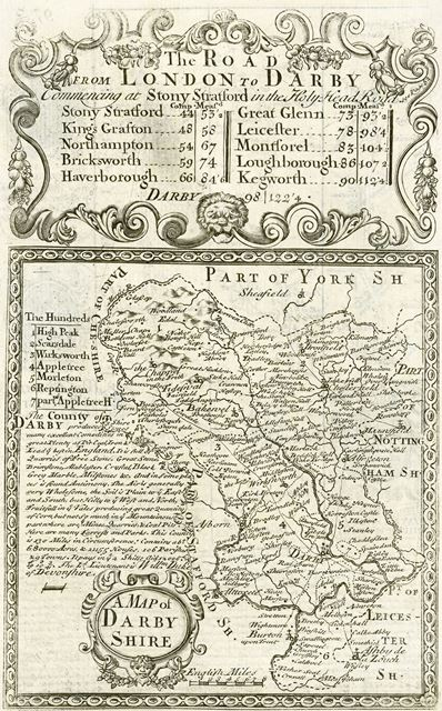Map of Derbyshire, 1740