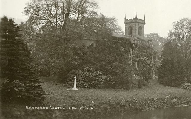 Frederick Arkwright's grave, St Mary's Church, off Mill Road, Cromford, c 1925