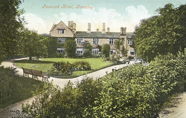 Garden of the Peacock Hotel, Dale Road North (A6), Rowsley, early 1900s?
