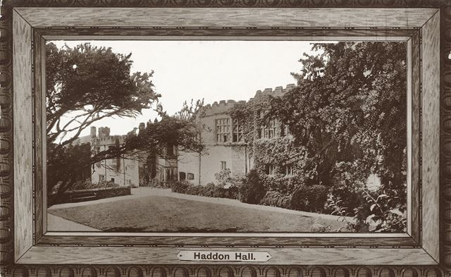 Framed View of the Garden and Terrace, Haddon Hall, Bakewell, c 1910s