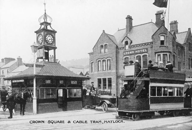 Tram and Shelter, Crown Square, Matlock, c 1900s