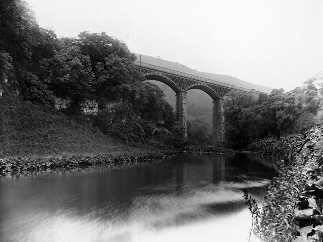 Miller's Dale Viaduct from River Wye, c 1930s