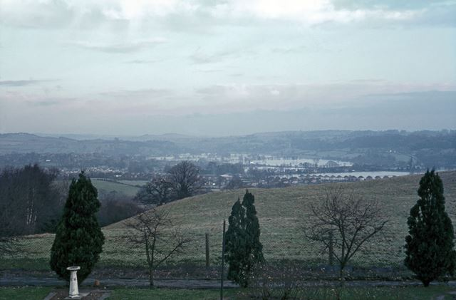 Floods from Bunkers Hill over Duffield, 1965
