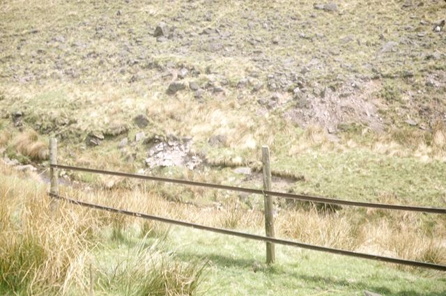 Fence made from iron rails from adits at Danebower Colliery, Holt Farm, Dane Valley, 1972