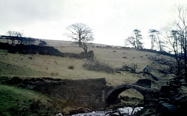 Possibly a packhorse bridge over the River Goyt, Goyt Valley, c 1980s