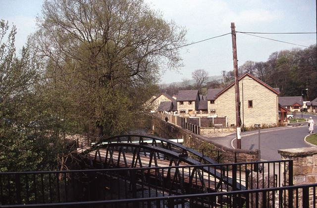 Goyt Mill Bridge and Houses on site of old Mill, Whaley Bridge, 1990