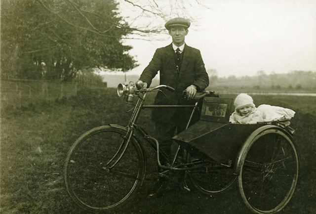 John Brackenbury with Son, Out on Tricycle and Baby Carrier, Littleborough, 1921