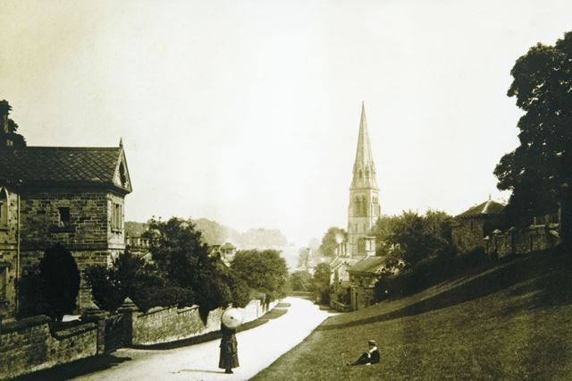 View of Village and St Peter's Church, Edensor, 1890s